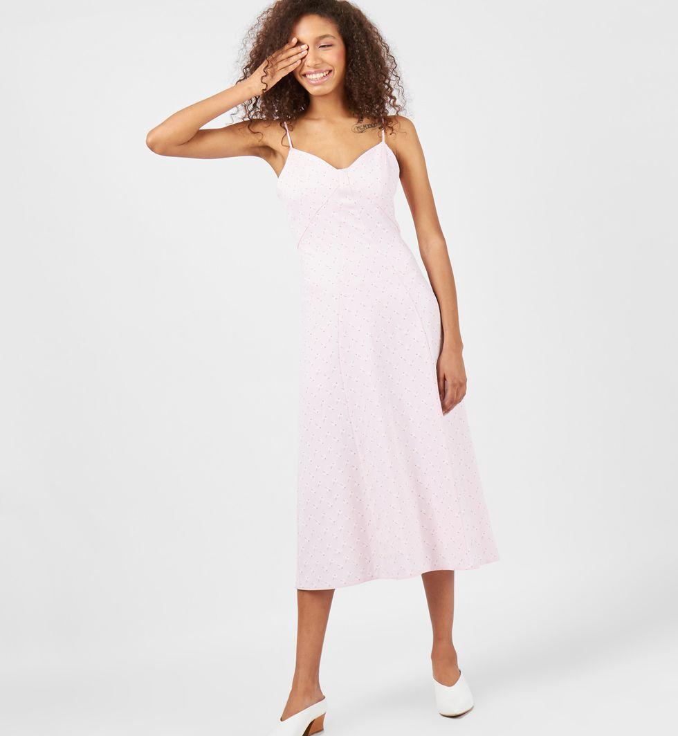 12Storeez Платье-комбинация в цветок (розовое)