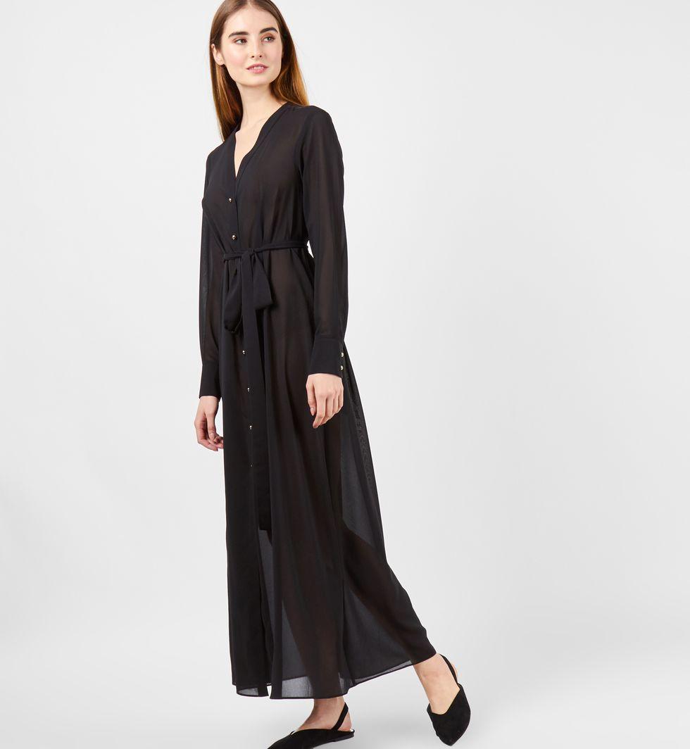 12Storeez Платье макси на пуговицах (черное)
