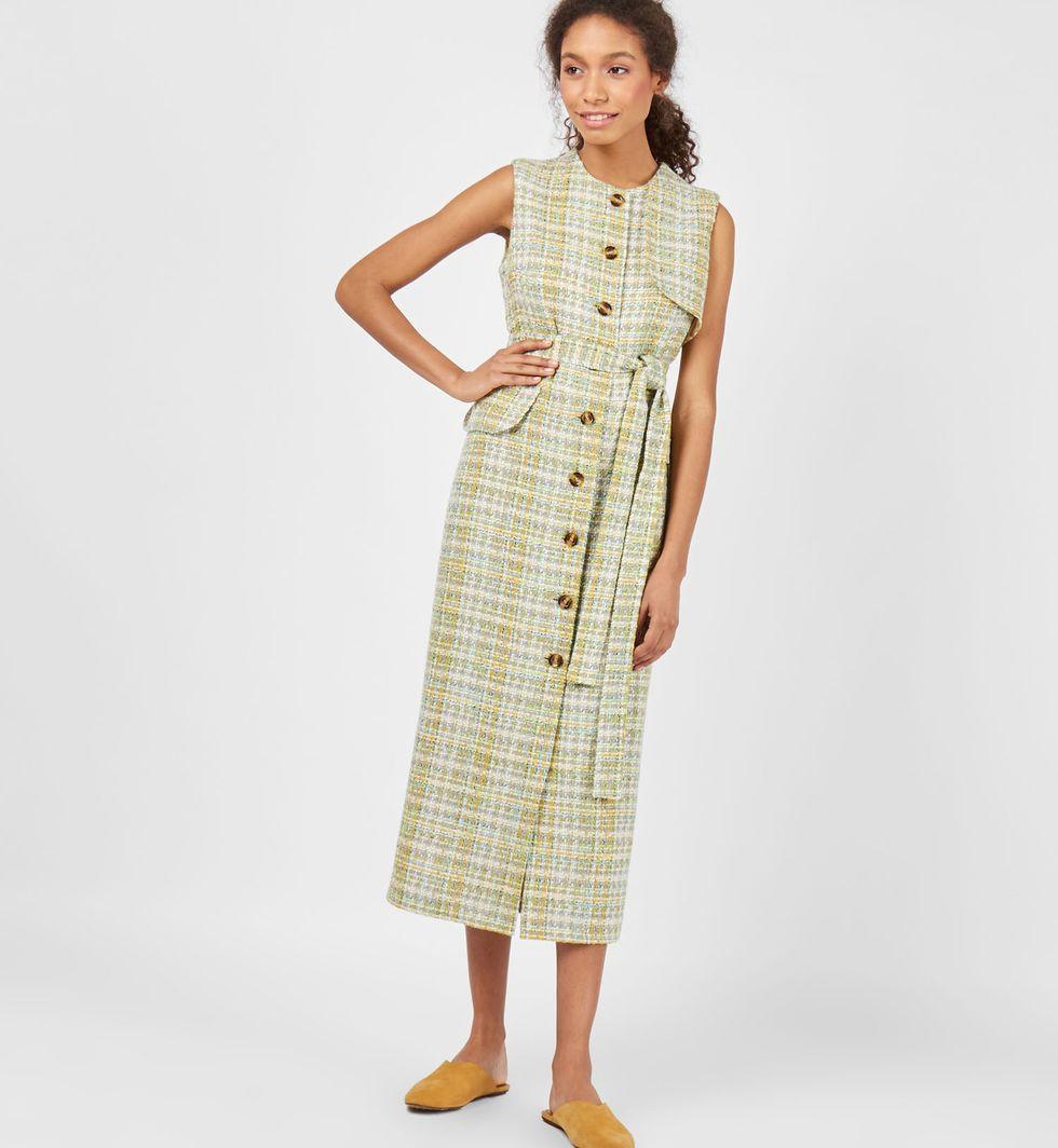 Платье без рукавов цветное Sплатья<br><br><br>Артикул: 8298145<br>Размер: S<br>Цвет: Светло-зеленый<br>Новинка: НЕТ<br>Наименование en: Sleeveless check midi dress
