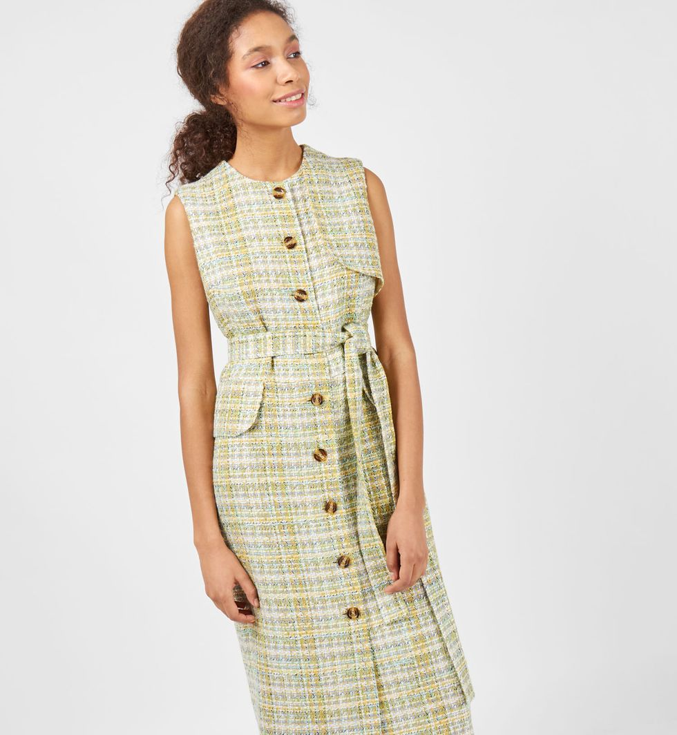 12Storeez Платье без рукавов цветное (зеленое)