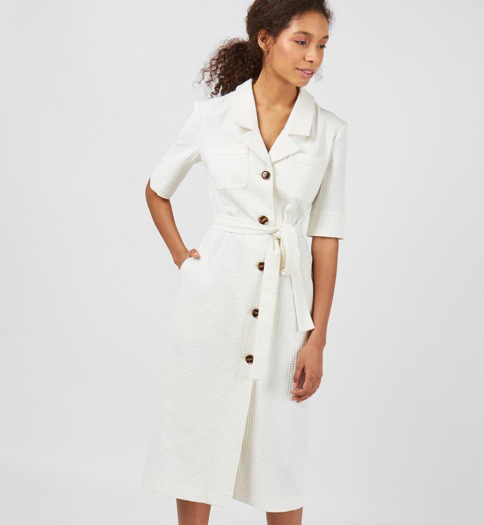 12Storeez Платье миди Вафли (белое) perlitta perlitta платье белое