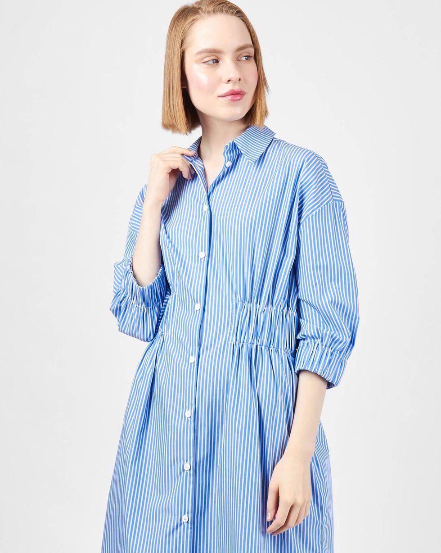 12Storeez Платье-рубашка в полоску (белая в голубую)