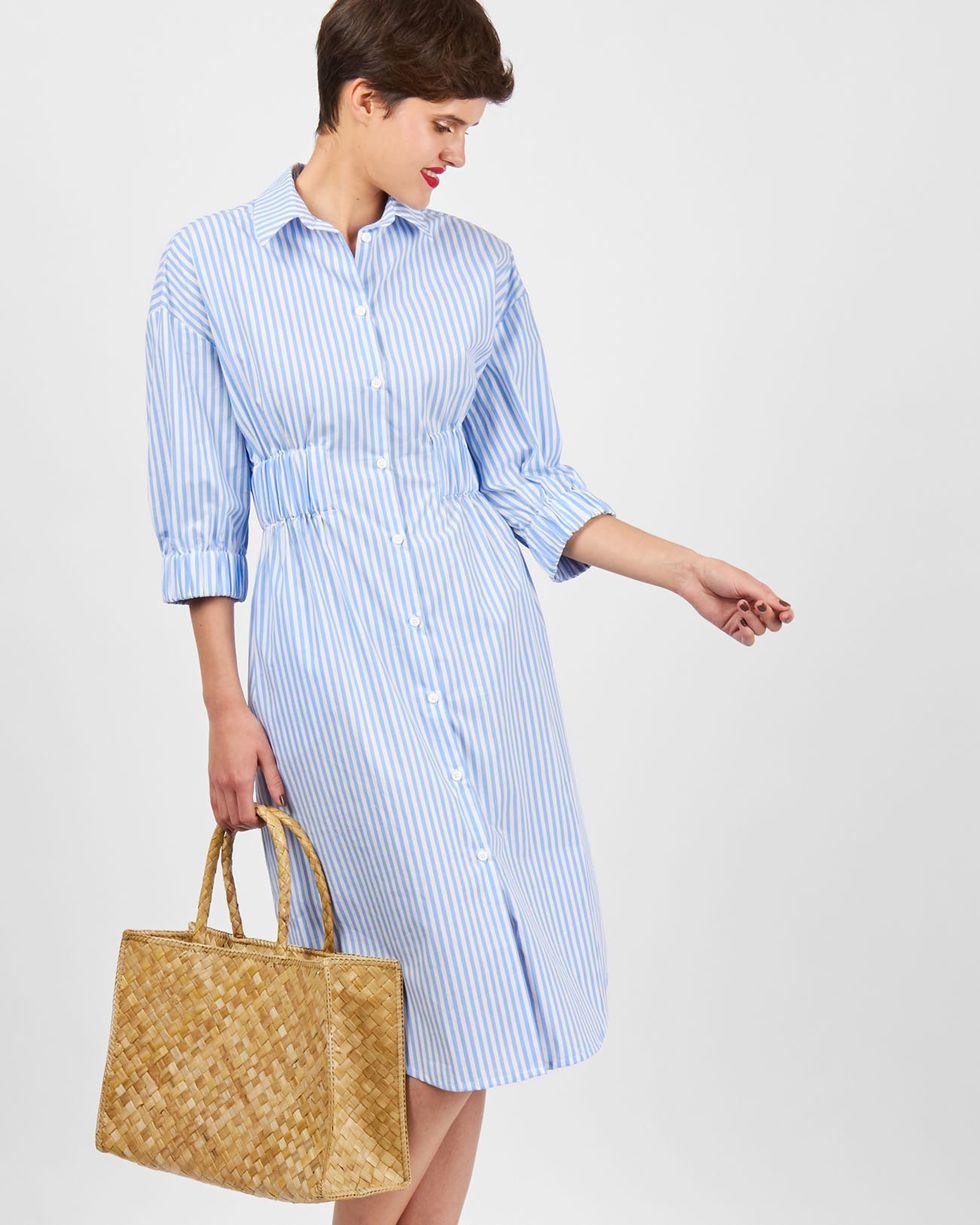 Платье-рубашка в полоску (белая в голубую)