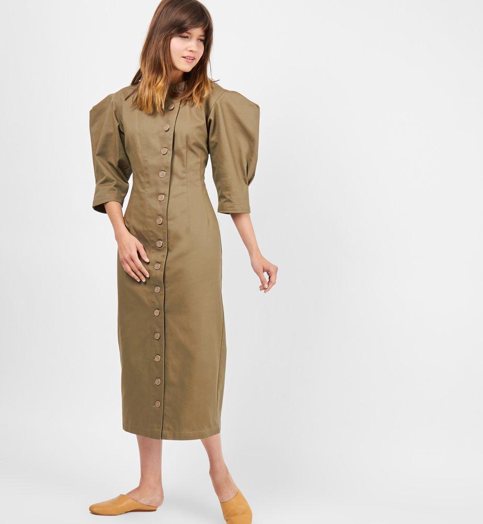 Платье миди на пуговицах из плотного хлопка Mплатья<br><br><br>Артикул: 8298538<br>Размер: M<br>Цвет: Хаки<br>Новинка: НЕТ<br>Наименование en: Button front midi dress