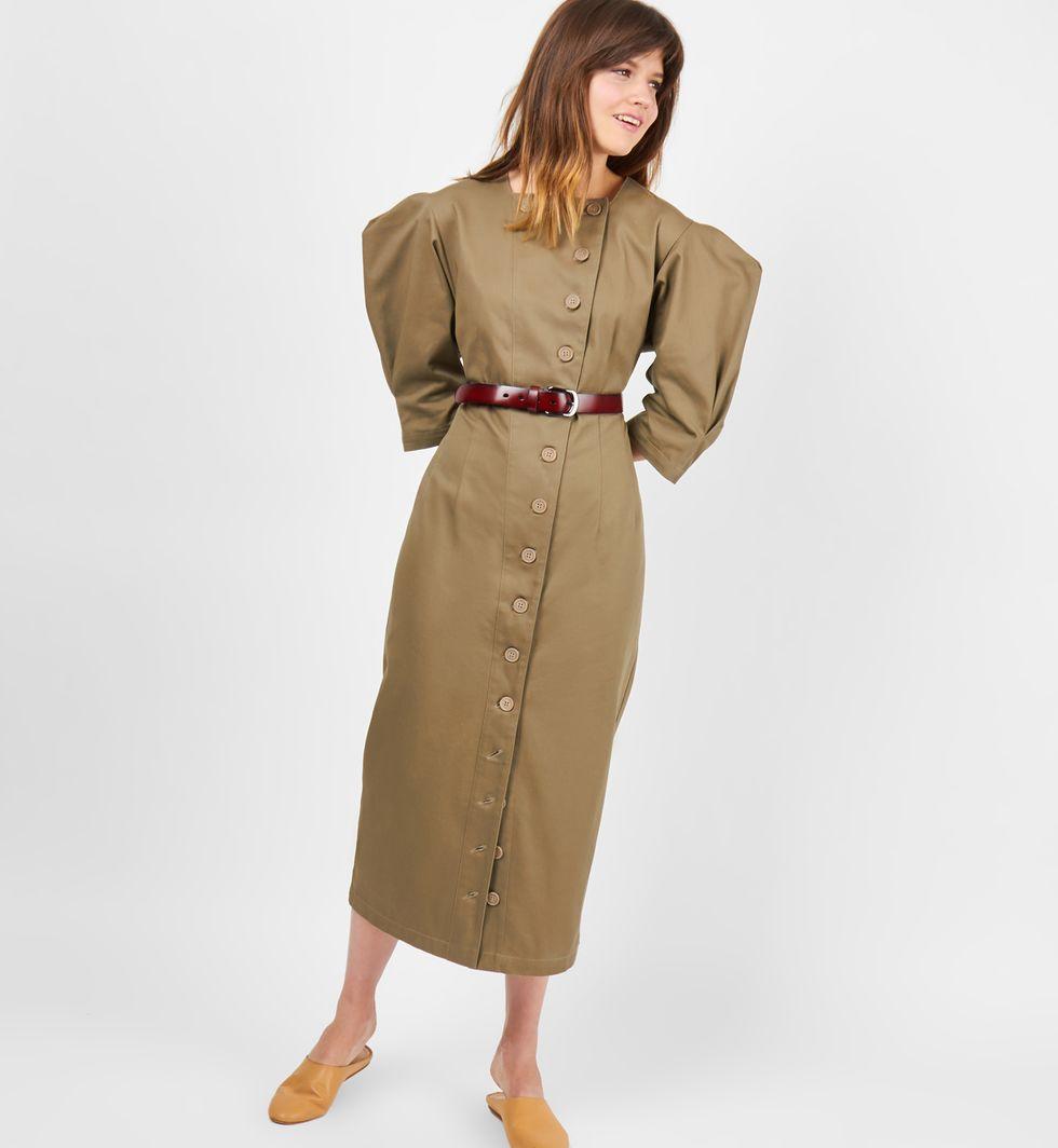 12Storeez Платье миди на пуговицах из плотного хлопка (хаки) 12storeez платье без рукавов из плотного хлопка молочный с подкладкой в полоску