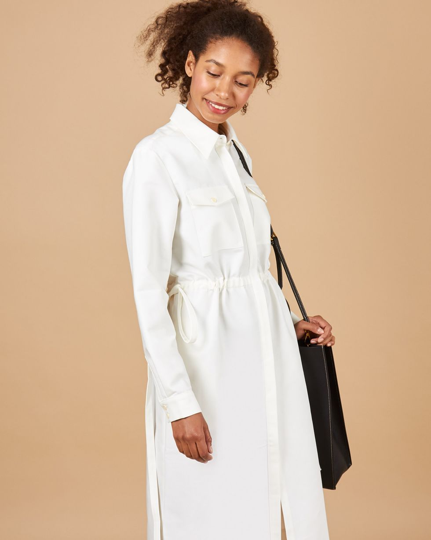 12Storeez Платье миди из плотного хлопка с карманами (белый)