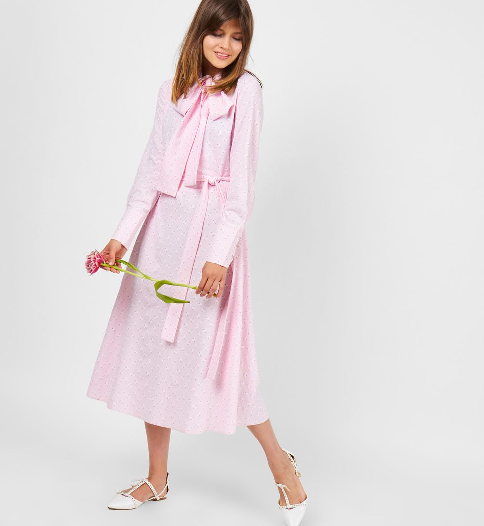 Платье с бантом (розовое)