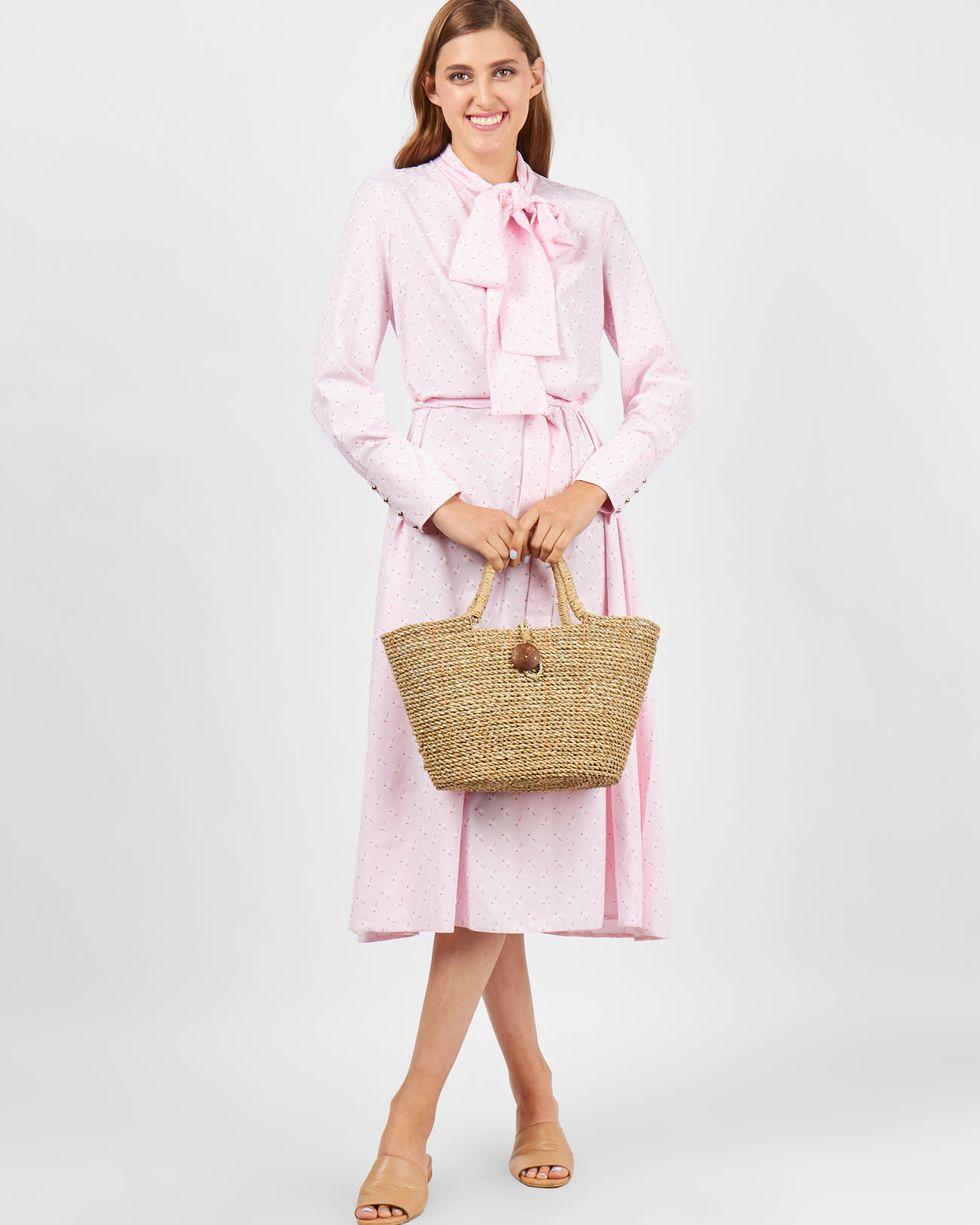 12Storeez Платье с бантом (розовое) платье с бантом на талии