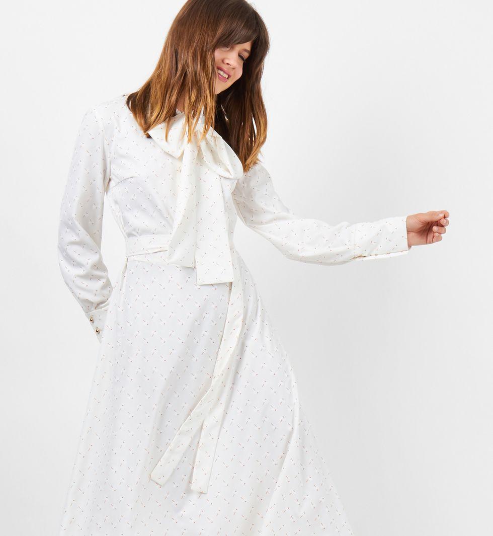 12Storeez Платье с бантом (молочное) платье с бантом на талии
