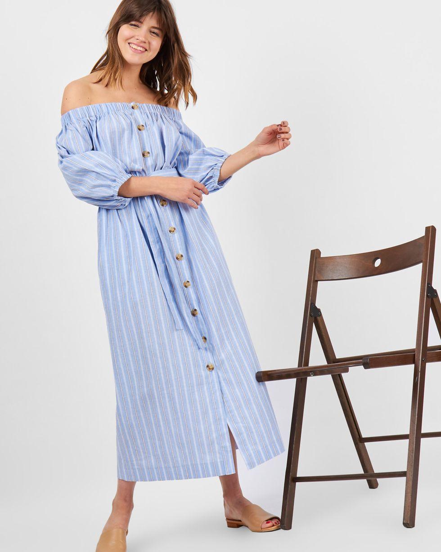 Платье из хлопка с рукавом фонарик SПлатья<br><br><br>Артикул: 8298569<br>Размер: S<br>Цвет: Голубой<br>Новинка: НЕТ<br>Наименование en: Off the shoulder bell sleeve dress