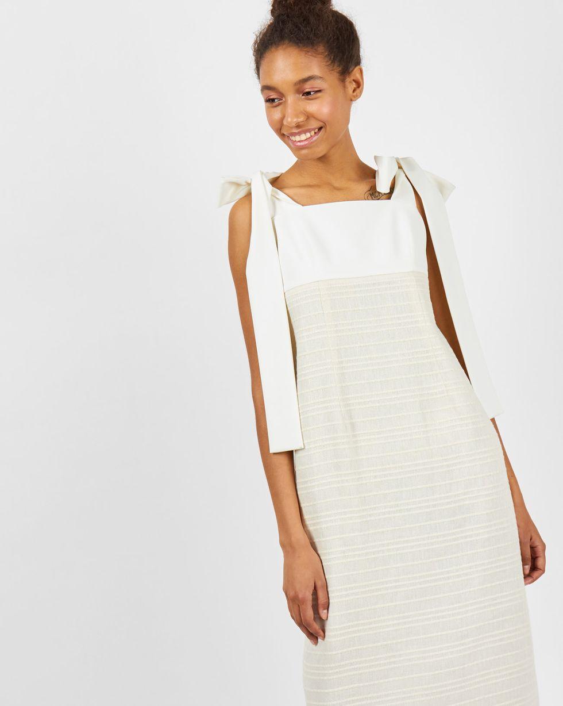 12Storeez Платье миди с завязками (молочный) цена и фото