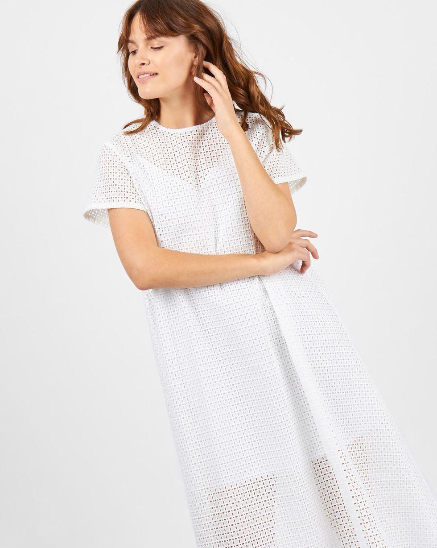 Платье-футболка из шитья Клетка Sплатья<br><br><br>Артикул: 8298967<br>Размер: S<br>Цвет: Белый<br>Новинка: НЕТ<br>Наименование en: Embroidered t-shirt dress