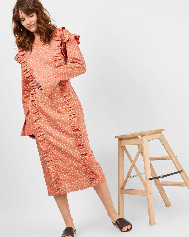 Платье с воланами на рукавах XSплатья<br><br><br>Артикул: 8299056<br>Размер: XS<br>Цвет: Оранжевый с рисунком<br>Новинка: НЕТ<br>Наименование en: Bell sleeve midi dress