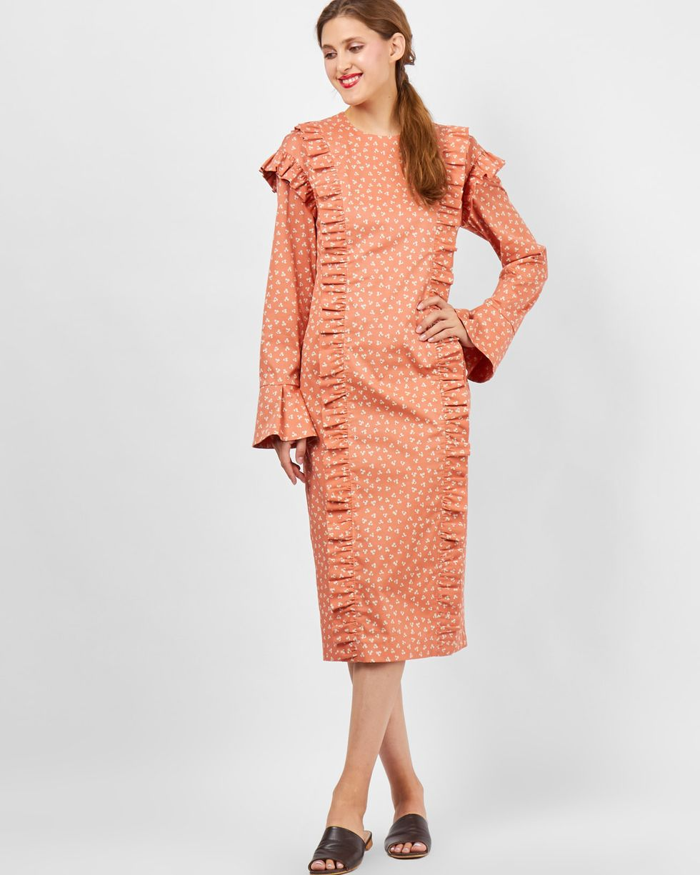 Платье с воланами на рукавах Sплатья<br><br><br>Артикул: 8299056<br>Размер: S<br>Цвет: Оранжевый с рисунком<br>Новинка: НЕТ<br>Наименование en: Bell sleeve midi dress