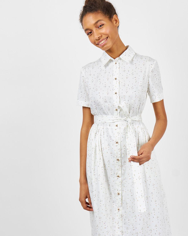 12Storeez Платье-рубашка в бутончик (белое) perlitta perlitta платье белое