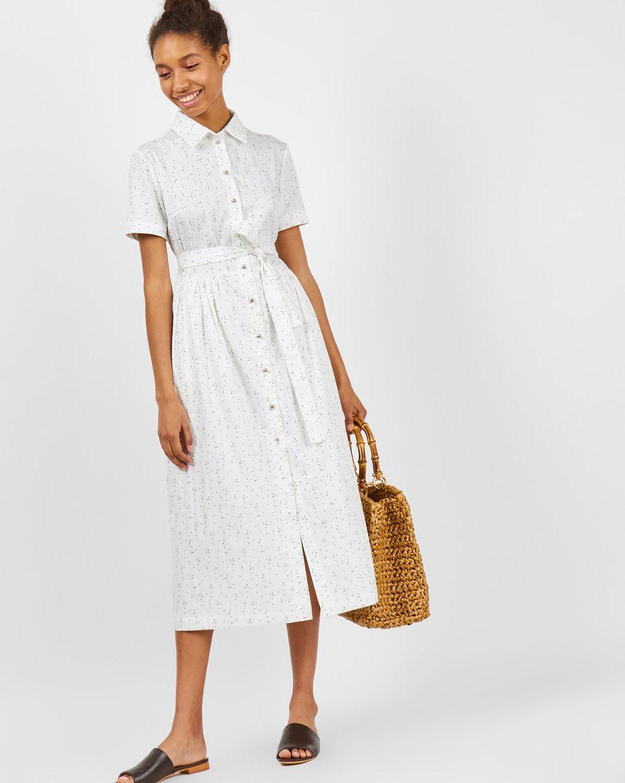 Платье-рубашка в бутончик XSПлатья<br><br><br>Артикул: 8299064<br>Размер: XS<br>Цвет: Белый<br>Новинка: НЕТ<br>Наименование en: Button down shirt dress