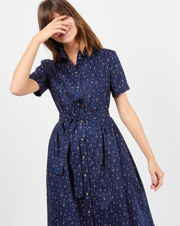 Платье-рубашка в бутончик SПлатья<br><br><br>Артикул: 8299068<br>Размер: S<br>Цвет: Синий<br>Новинка: НЕТ<br>Наименование en: Bud print shirt dress