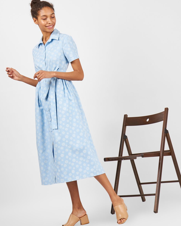 Платье-рубашка в кружок MПлатья<br><br><br>Артикул: 8299072<br>Размер: M<br>Цвет: Голубой<br>Новинка: НЕТ<br>Наименование en: Bubble print shirt dress
