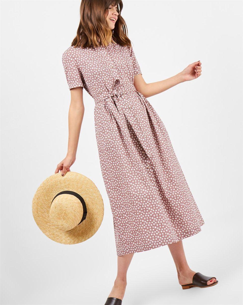 Платье-рубашка в цветочек XS