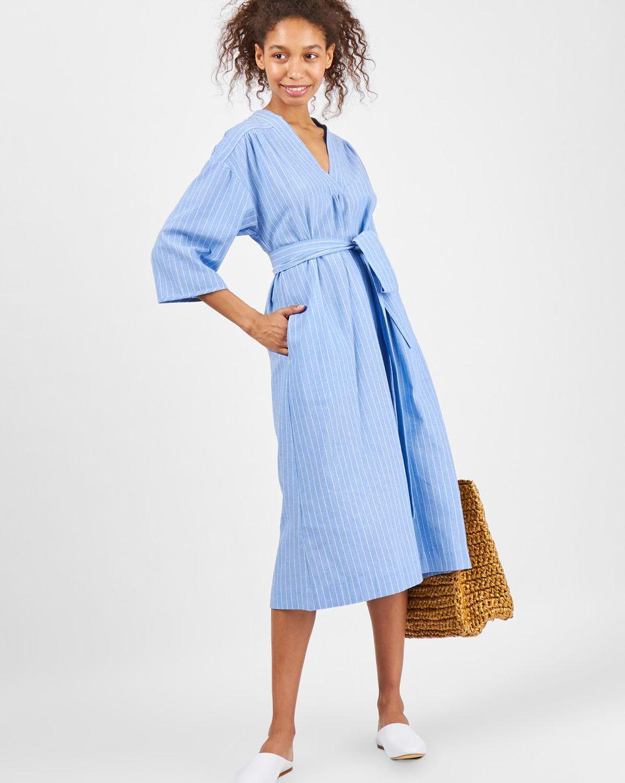 12Storeez Платье-рубашка свободного кроя в полоску (голубой) платье рубашка в полоску dynastie
