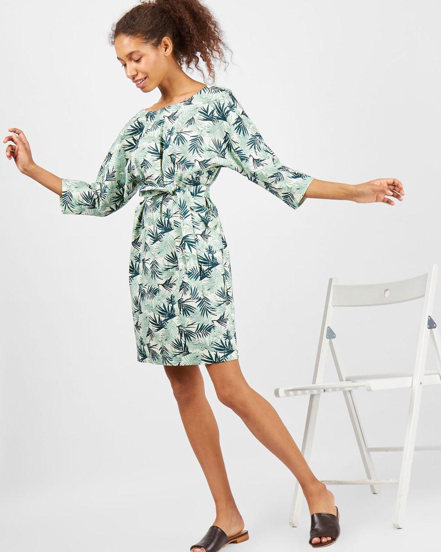 Платье мини с вырезом и пуговицами сзади в листьях XS