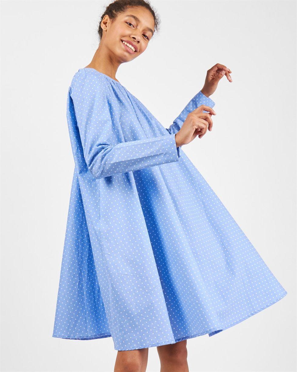 12Storeez Платье миди с вырезом на спине в горох (голубое)