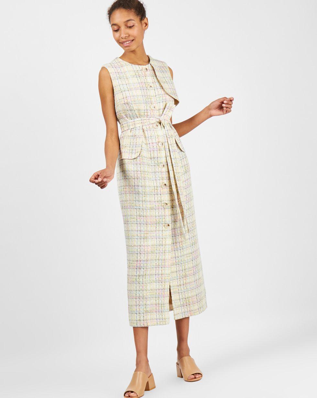 Платье без рукавов цветное LПлатья<br><br><br>Артикул: 8299283<br>Размер: L<br>Цвет: Белый<br>Новинка: НЕТ<br>Наименование en: Sleeveless check midi dress