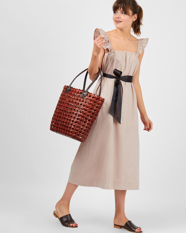 12Storeez Платье-сарафан миди с бретелями крылышки (бежевое) 12storeez платье сарафан мини с бретелями крылышки в цветок белое