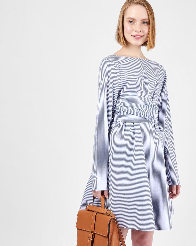 12Storeez Платье мини с бантом на спине (синее) 12storeez платье с одним рукавом тёмно синее
