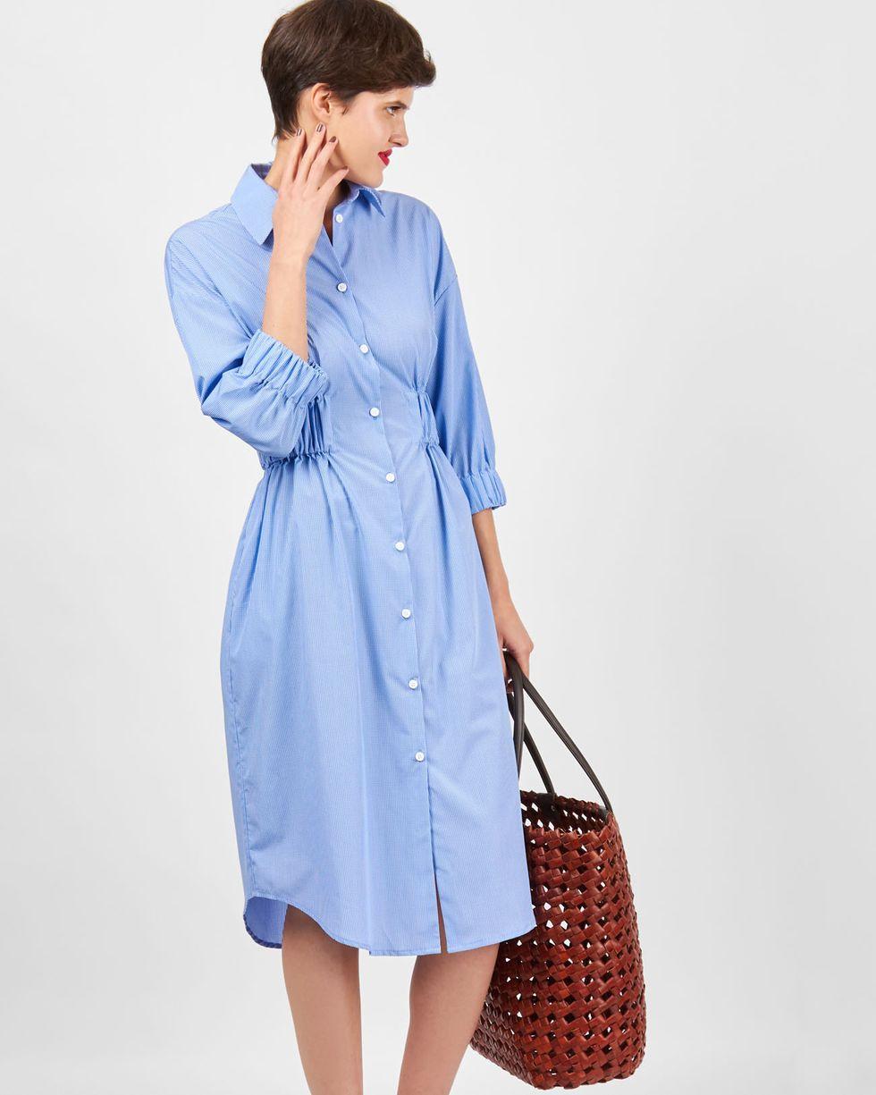 Платье-рубашка в клетку SПлатья<br><br><br>Артикул: 8299441<br>Размер: S<br>Цвет: Синий<br>Новинка: НЕТ<br>Наименование en: Check shirt dress