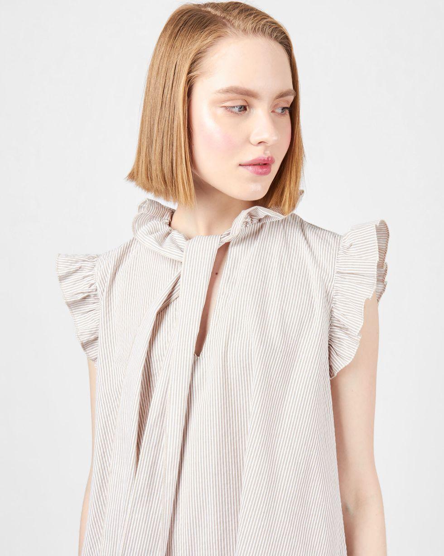 12Storeez Платье мини с воротником бантом и крылышками в полоску (бежевое) платье credo платья и сарафаны в полоску