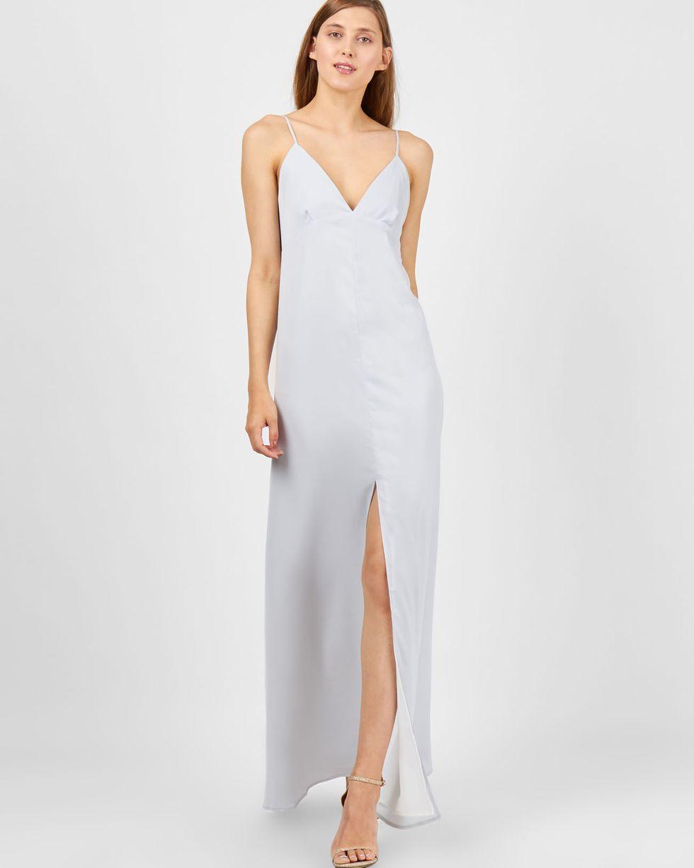 Комбинация с глубоким вырезом SПлатья<br><br><br>Артикул: 8299463<br>Размер: S<br>Цвет: Серый<br>Новинка: НЕТ<br>Наименование en: Low back slip dress