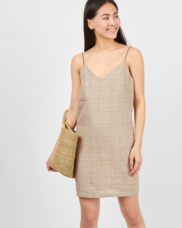 Комбинация мини изо льна LПлатья<br><br><br>Артикул: 8299587<br>Размер: L<br>Цвет: Бежевый<br>Новинка: НЕТ<br>Наименование en: Linen mini slip dress