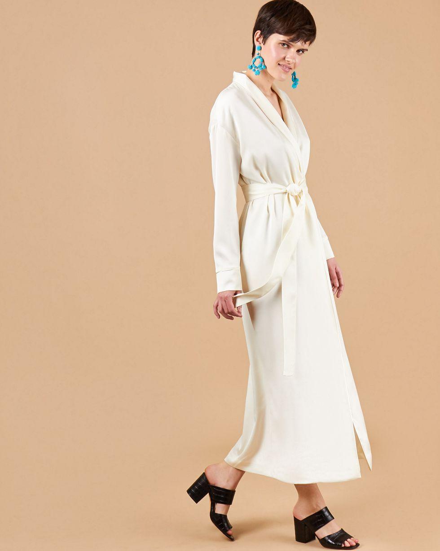 12Storeez Платье-халат (молочный) новые богемские макси длинные платья с саксами летняя осень vintage цветочные печати длина пола платье 2017 белые дамы