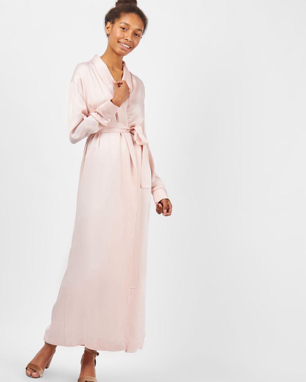 12Storeez Платье-халат (розовый) новые богемские макси длинные платья с саксами летняя осень vintage цветочные печати длина пола платье 2017 белые дамы
