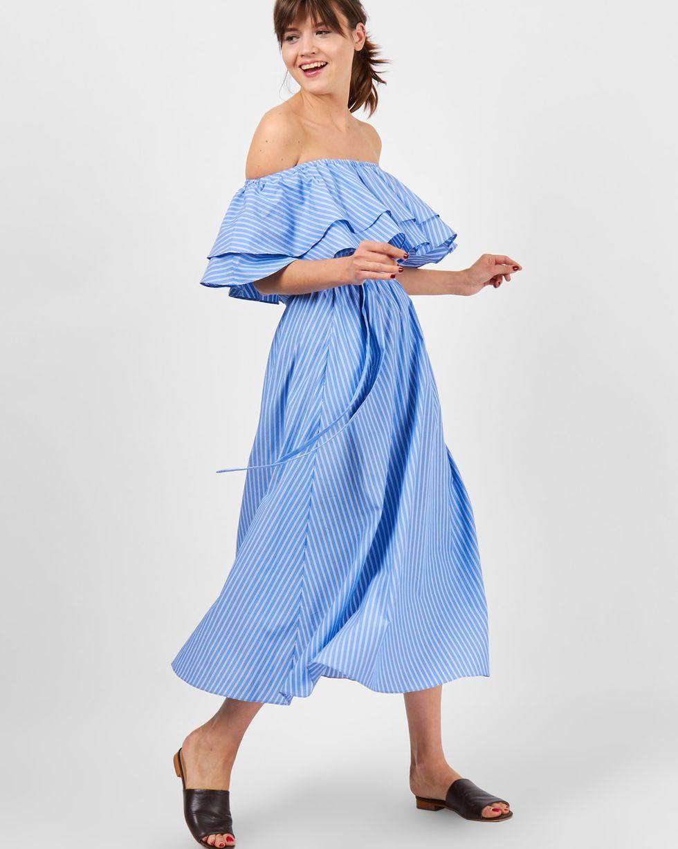 цена 12Storeez Платье миди с воланами на плечах в полоску (синий) онлайн в 2017 году