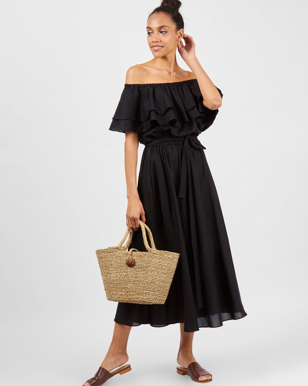 Фото 12Storeez Платье миди с воланами на плечах (черный)