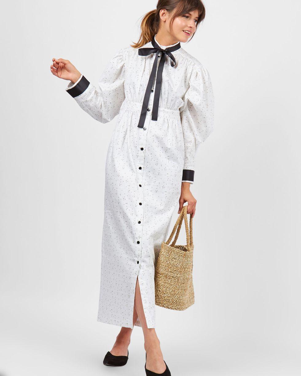 12Storeez Платье миди с завышенной талией (белый) брюки с завышенной талией и поясом и складками