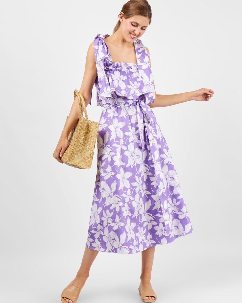 Платье миди с завязками на плечах SПлатья<br><br><br>Артикул: 8299747<br>Размер: S<br>Цвет: Сиреневый<br>Новинка: НЕТ<br>Наименование en: Bow strap midi dress