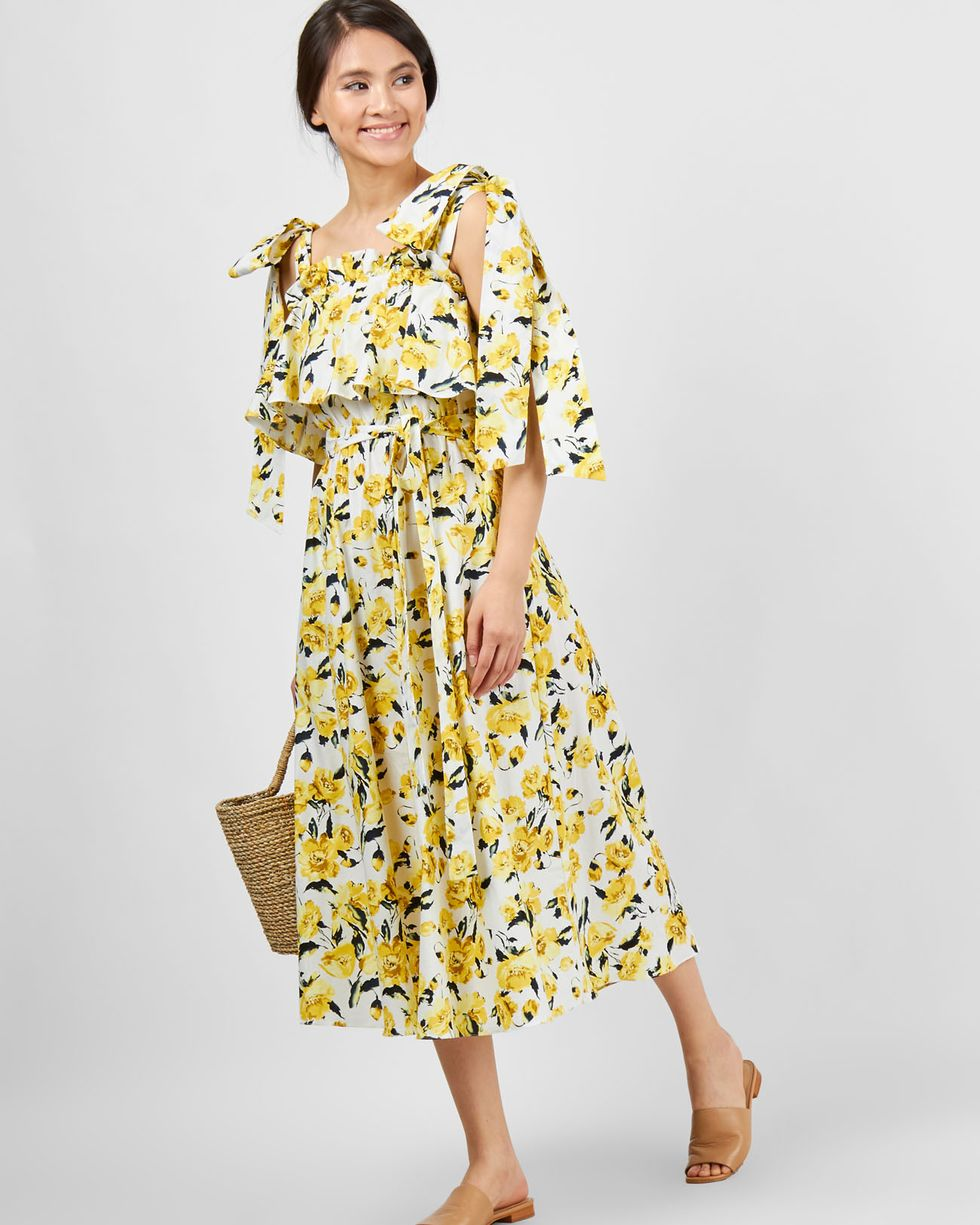 Платье миди с завязками на плечах Mплатья<br><br><br>Артикул: 8299749<br>Размер: M<br>Цвет: Желтый<br>Новинка: НЕТ<br>Наименование en: Bow strap midi dress
