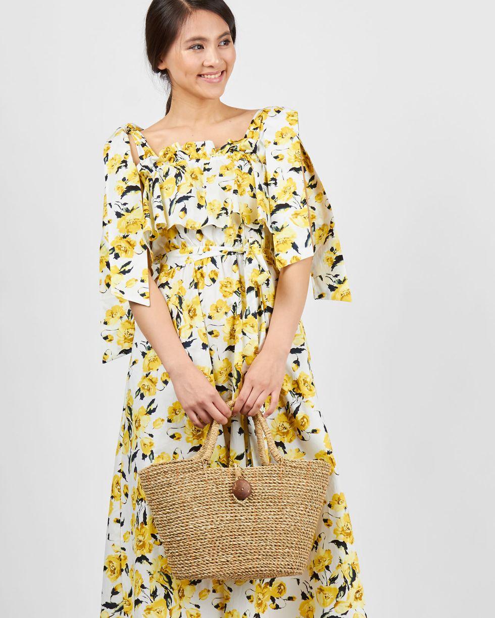 12Storeez Платье миди с завязками на плечах (желтый)