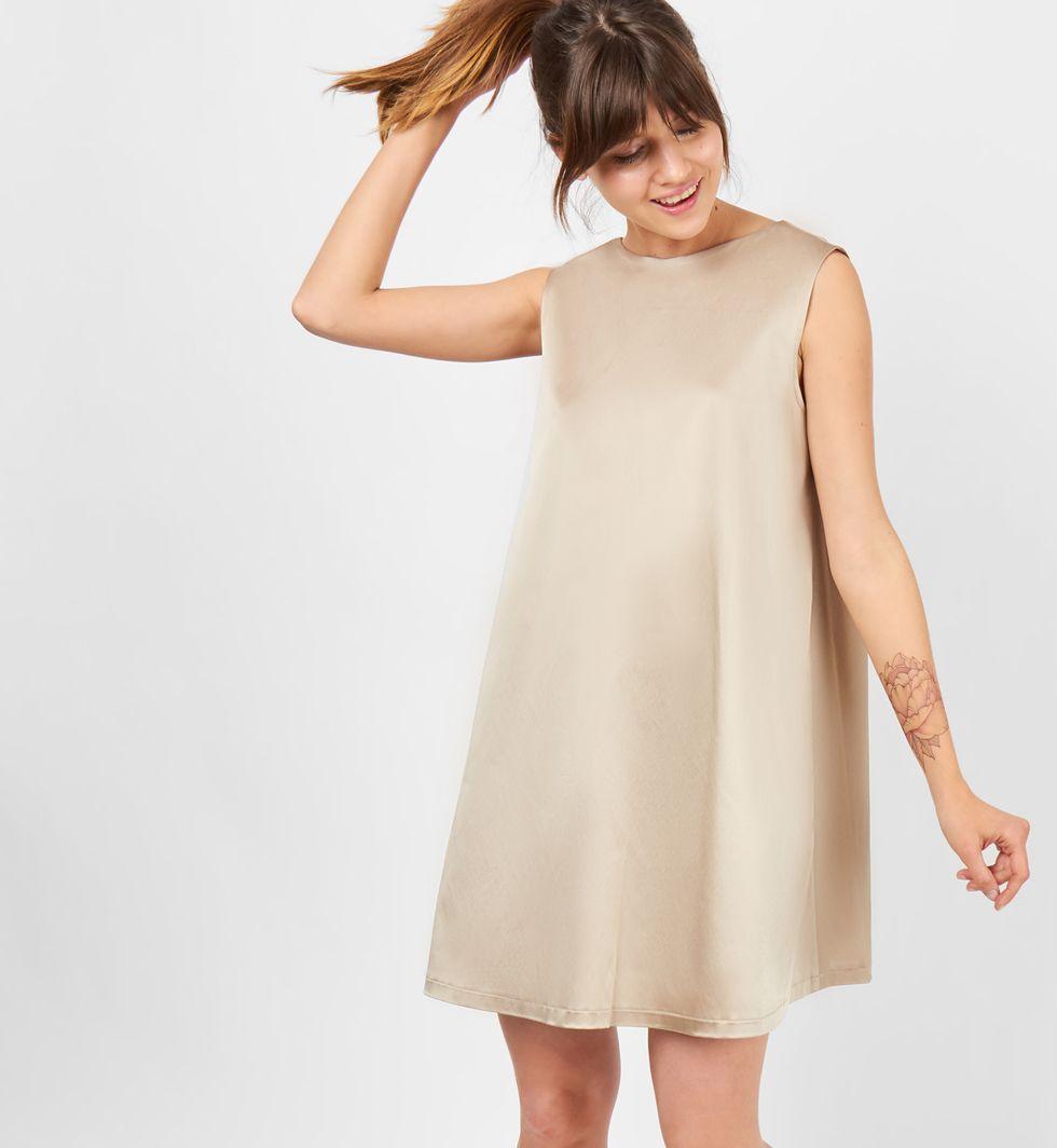 12Storeez Платье объёмного покроя без рукавов (кофейное)