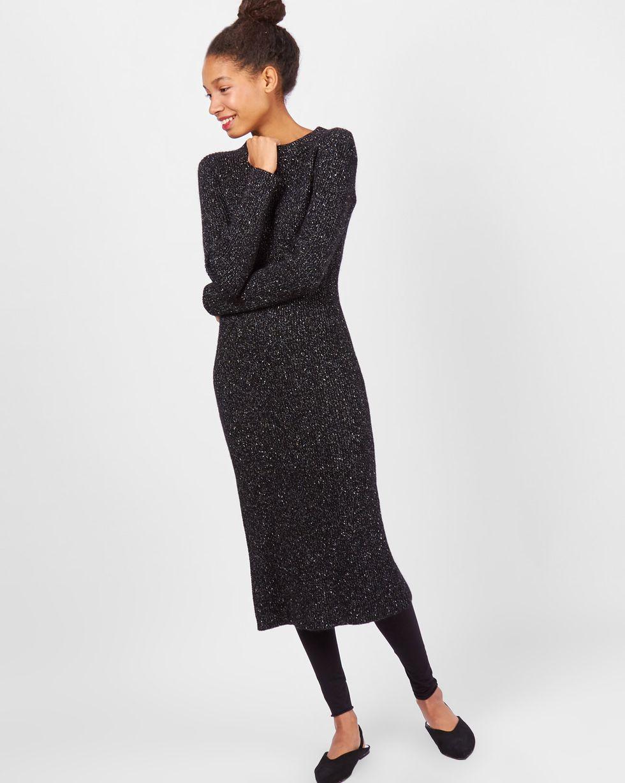 12Storeez Платье миди из шерсти меланж (черный) цена