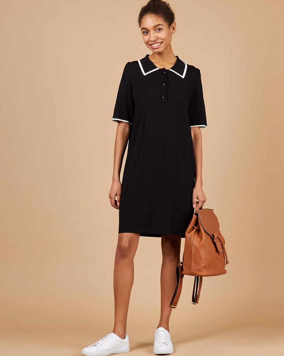 12Storeez Платье-поло (черный/белый)