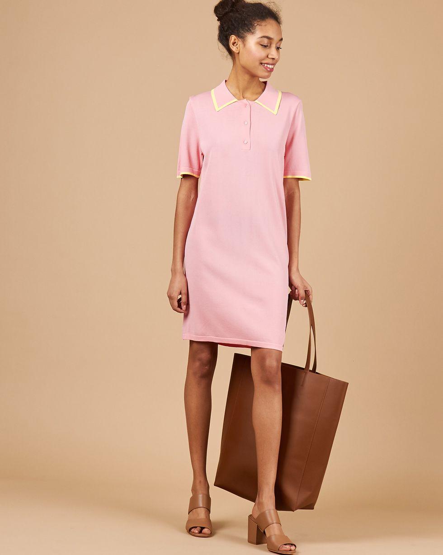 Платье-поло XSПлатья<br><br><br>Артикул: 84412835<br>Размер: XS<br>Цвет: Розовый/Желтый<br>Новинка: НЕТ<br>Наименование en: Fine-knit polo dress