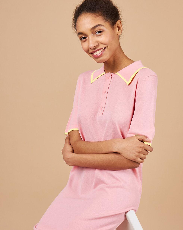 12Storeez Платье-поло (розовый/желтый)