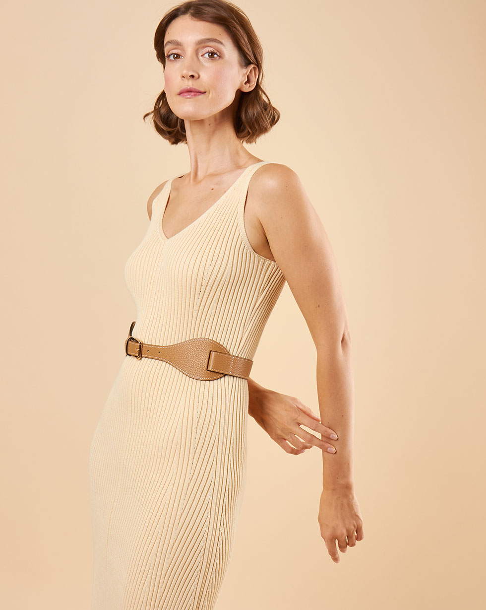 12Storeez Платье на широких бретелях из трикотажа (светло-бежевый) SS19 цена и фото