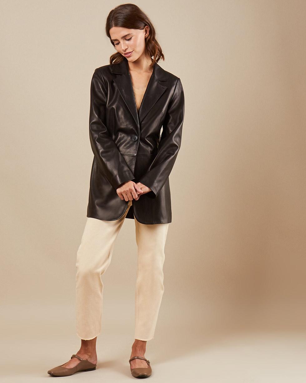 12Storeez Куртка из кожи L40-002 (Черный)