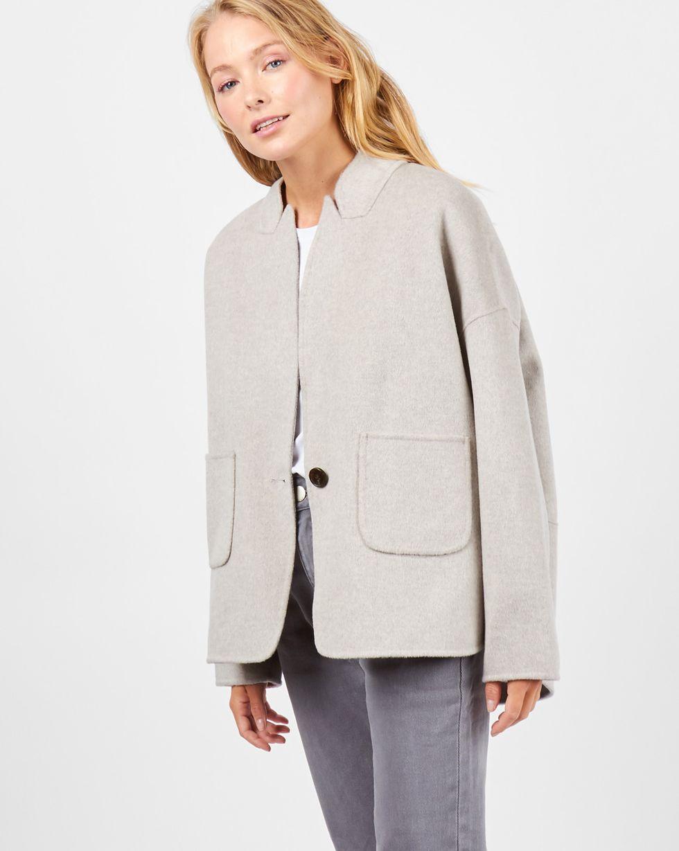 Пальто-жакет One sizeВерхняя одежда<br><br><br>Артикул: 79910122<br>Размер: One size<br>Цвет: Светло-серый<br>Новинка: ДА<br>Наименование en: Wool blend jacket