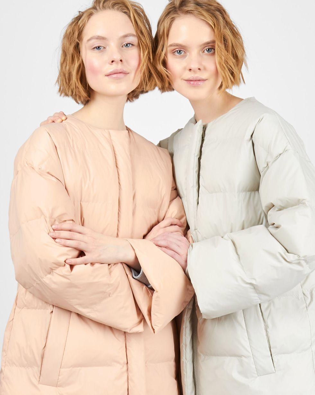 12Storeez Пальто стеганое облегченное (розовое) женское облегченное пальто